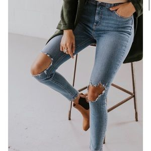 Free People Distressed Knee High Rise Skinny Jeans